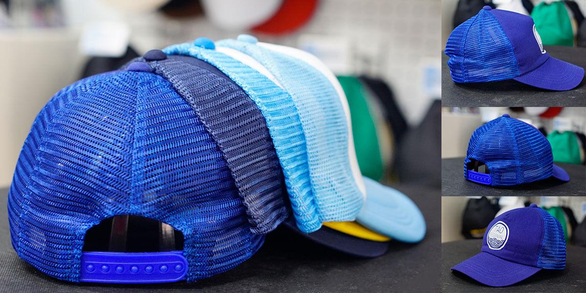 หมวกแก๊ปตาข่ายสีน้ำเงิน