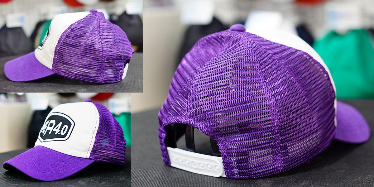 หมวกแก๊ปตาข่ายสีม่วง