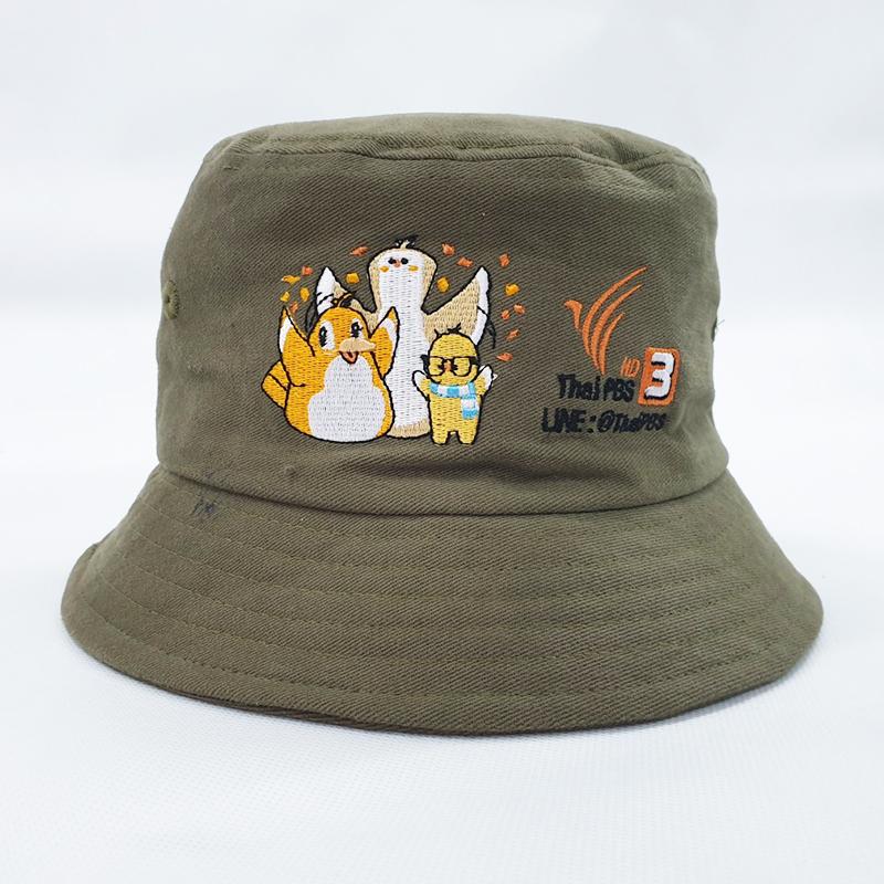 หมวกปีกรอบสีเขียวกากี
